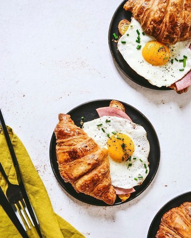 Croissants egg and bacon