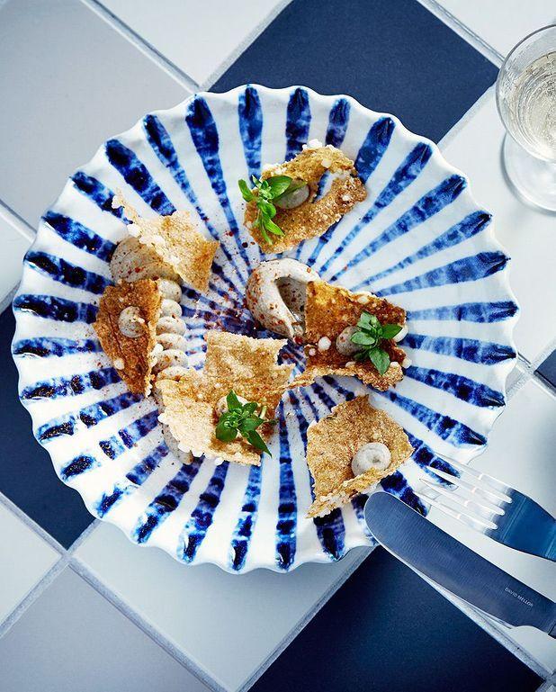 Croûtes de quinoa, aubergine au saté de Jean-François Piège