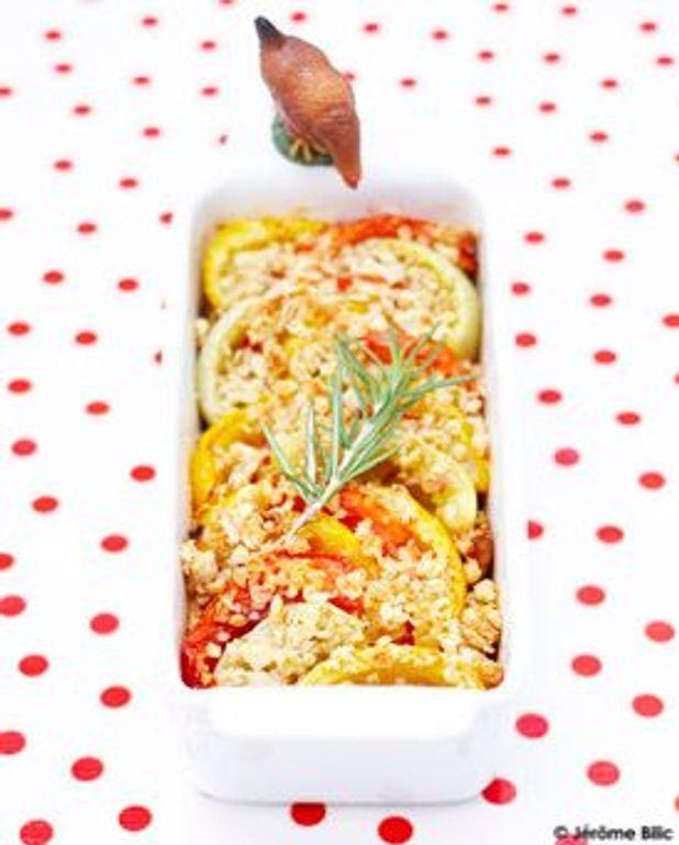 Crumble d'avoine aux tomates et romarin