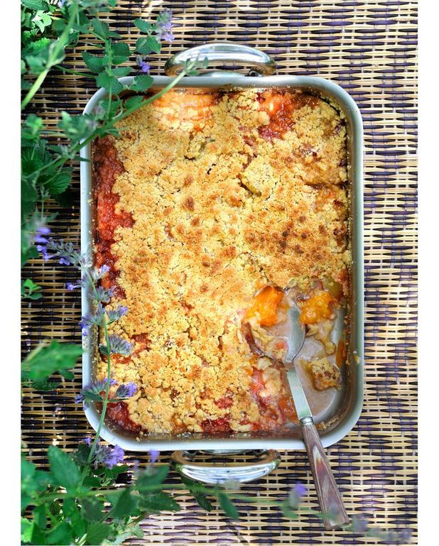 Crumble pêches-abricots