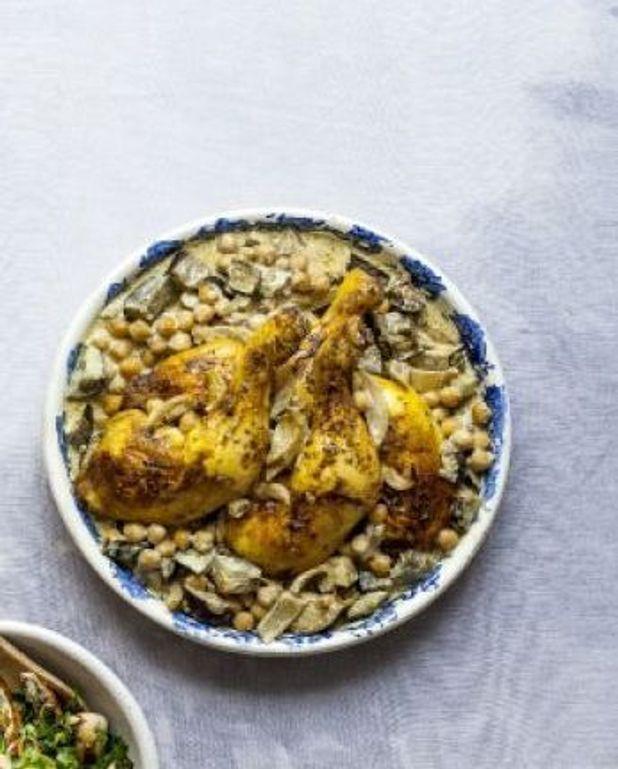 Cuisses de poulet au lait de coco, aubergines et pois chiches