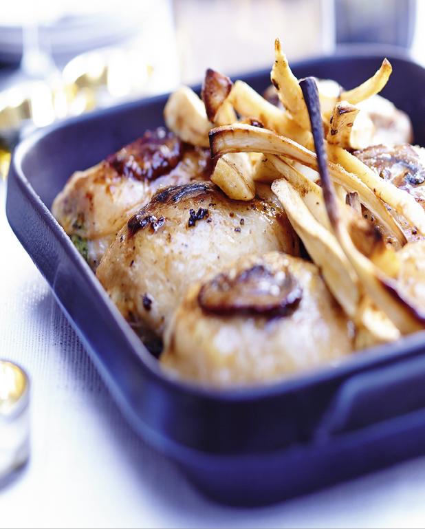 Cuisses de volaille farcies au foie gras, frites de panais