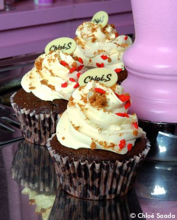 Cupcake chocolat, coeur de crème de spéculoos