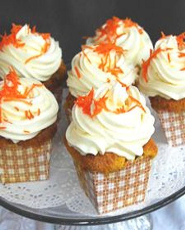 Cupcakes aux carottes, glaçage fromage à la crème