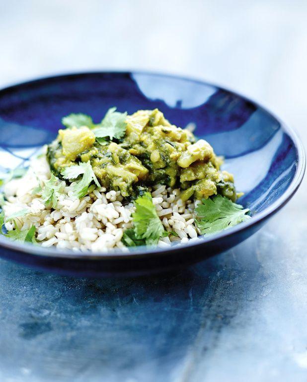 Curry de petits pois et riz complet