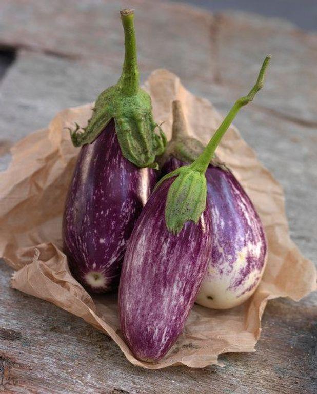 Damier d'aubergines et poivrons