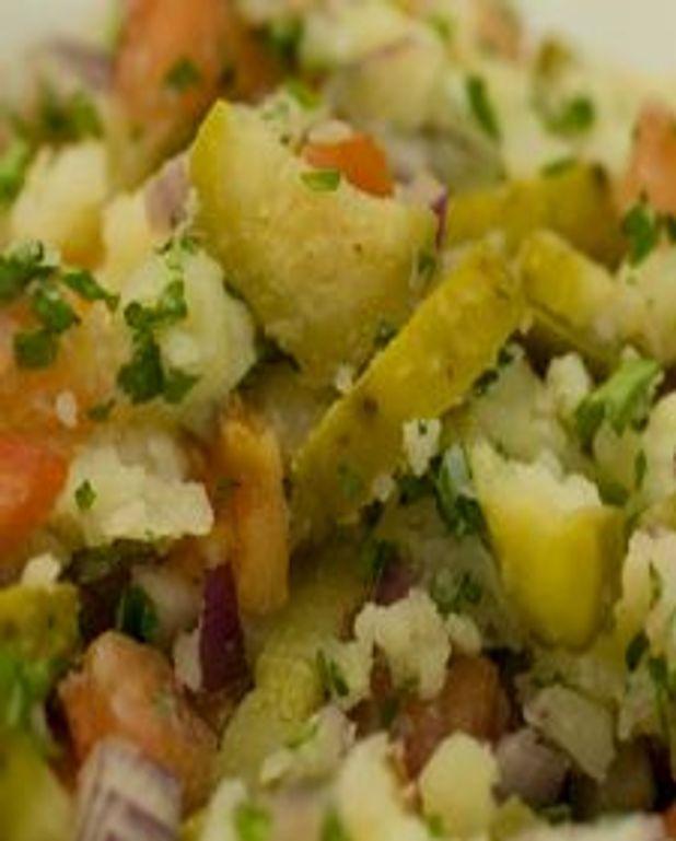 Écrasade de pommes de terre aux condiments
