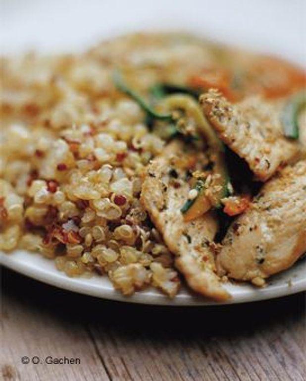 Emincés de volaille aux petits légumes et quinoas