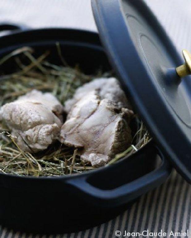 Escalope de ris de veau cuit à la vapeur de foin