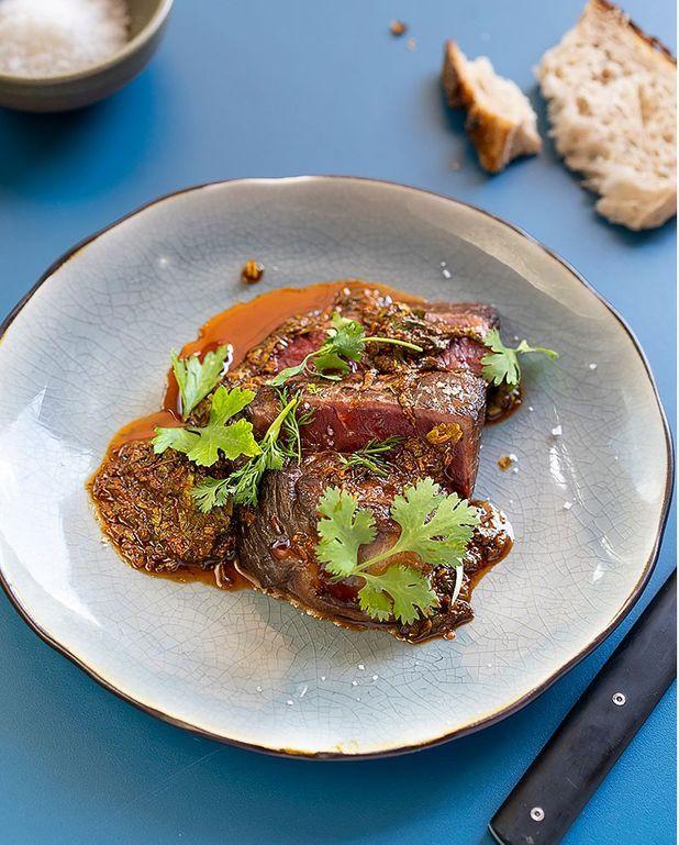 Faux-filet de Salers, sauce chimichurri