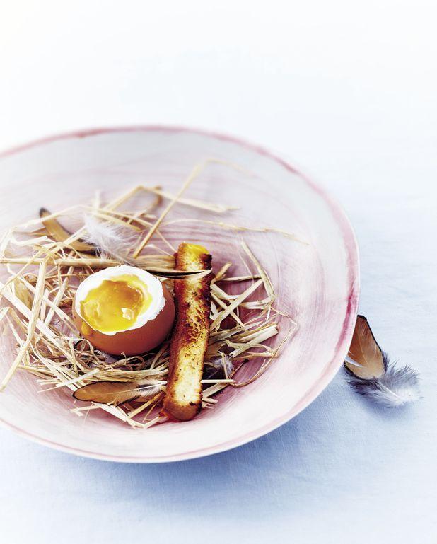 Faux œufs mascarpone, mangue, mouillettes de brioche