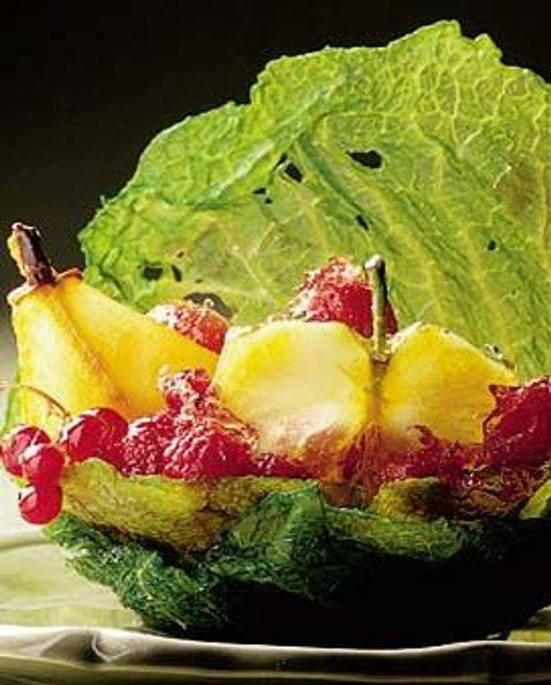 Feuilles de chou aux fruits rouges