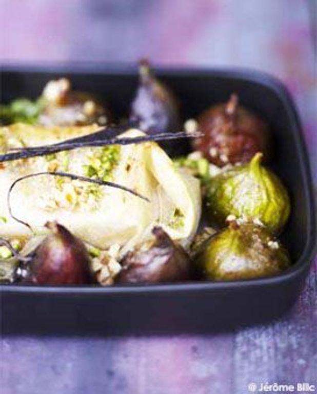 Filet d'agneau en feuilles de filo et figues rôties au miel