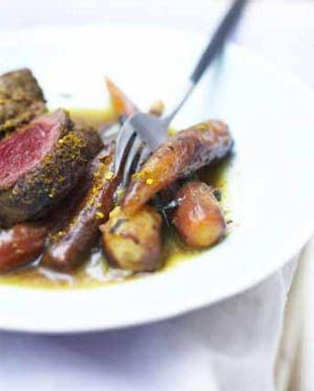 Filet de boeuf au curry, légumes anciens