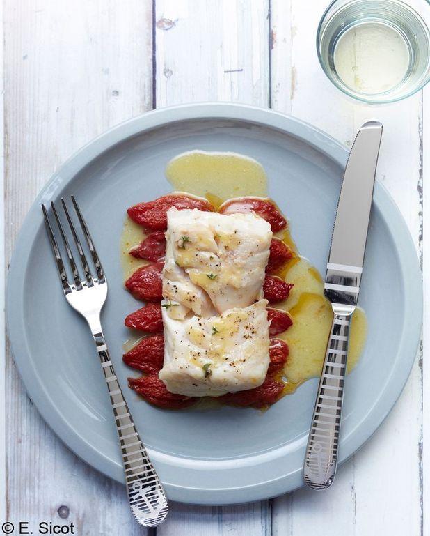 Filet de merlu aux tomates confites