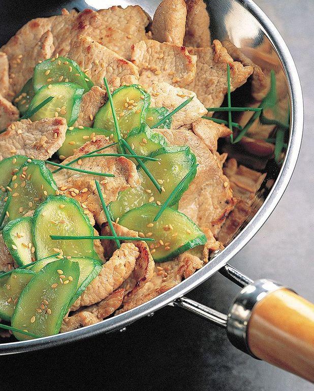 Filet mignon de porc au concombre