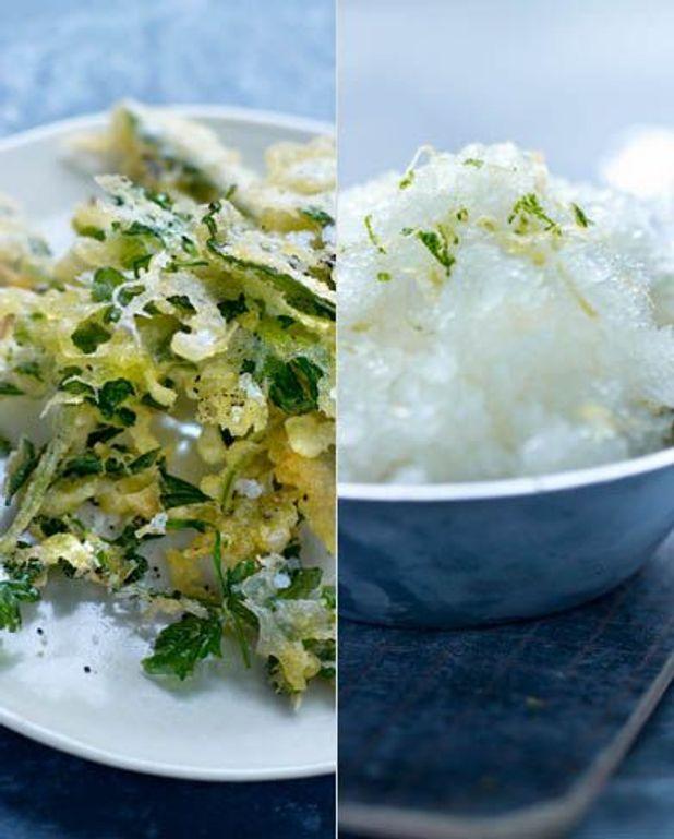 Fines herbes en tempura