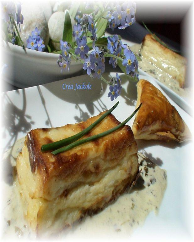 Flan de saint-jacques à la truffe, sauce à l'oseille