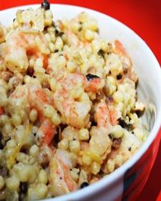 Fregola en risotto anisé et citronné aux crevettes