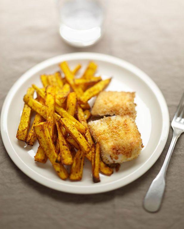 Frites de panais et poisson pané