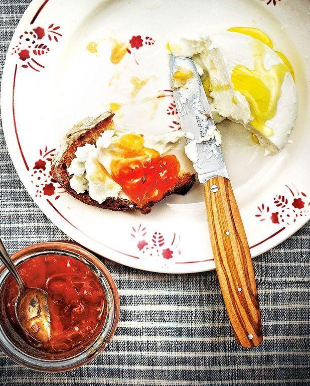 Fromage frais de brebis, gelée de melon au fenouil
