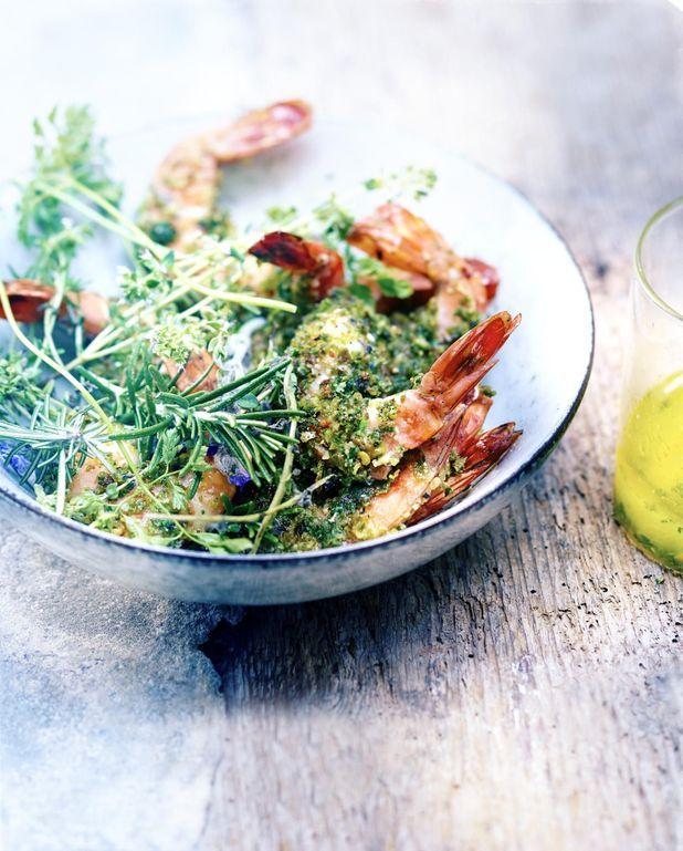 Gambas croustillantes, gremolata herbes, ail et citron vert