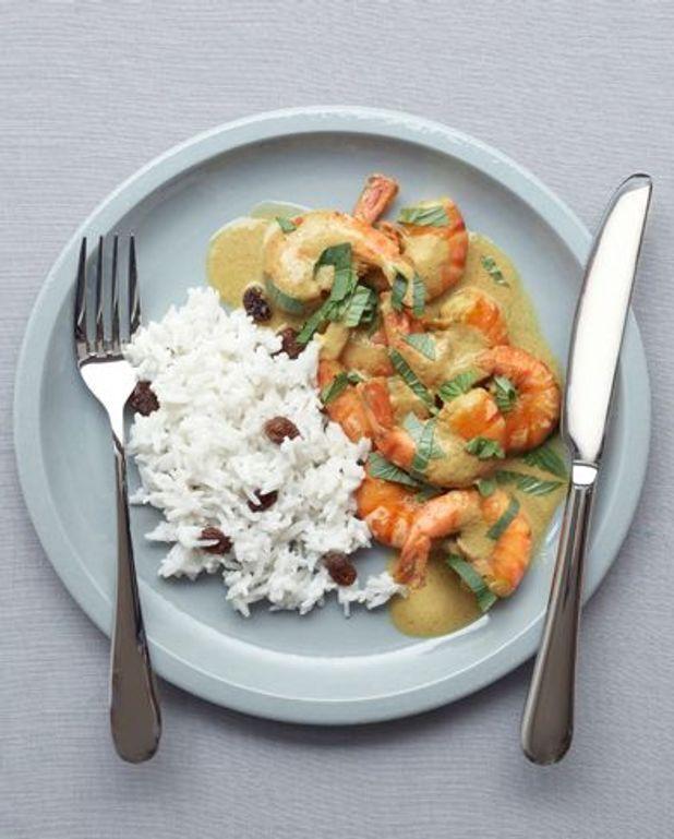 Gambas curry et riz coco
