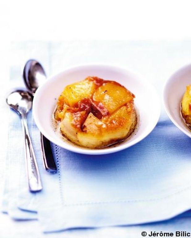 Gâteau aux fruits, caramel au beurre salé