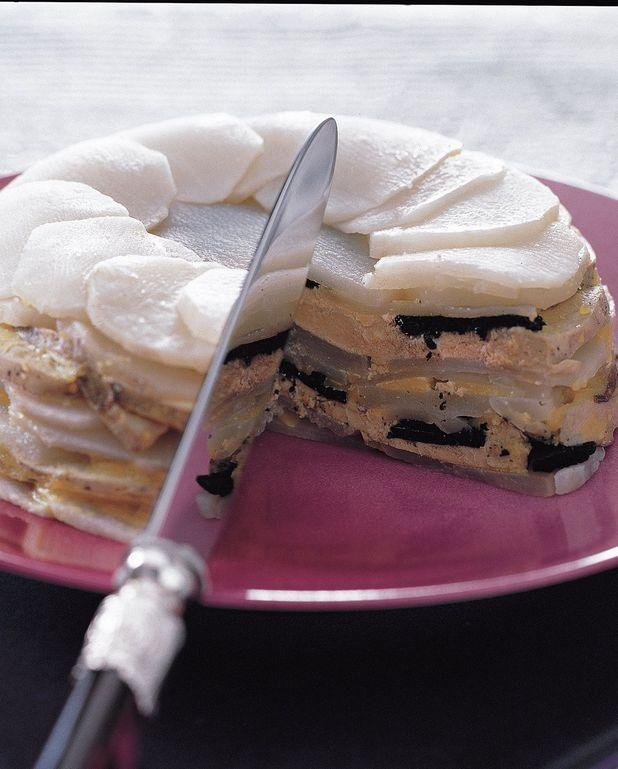 Gâteau de topinambours et de foie gras à la truffe