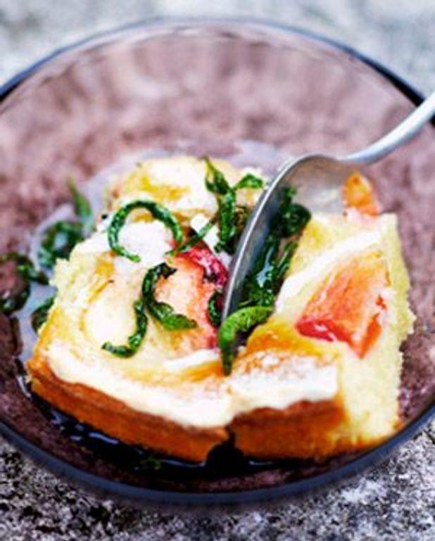 Gâteau moelleux aux pêches, sirop de verveine