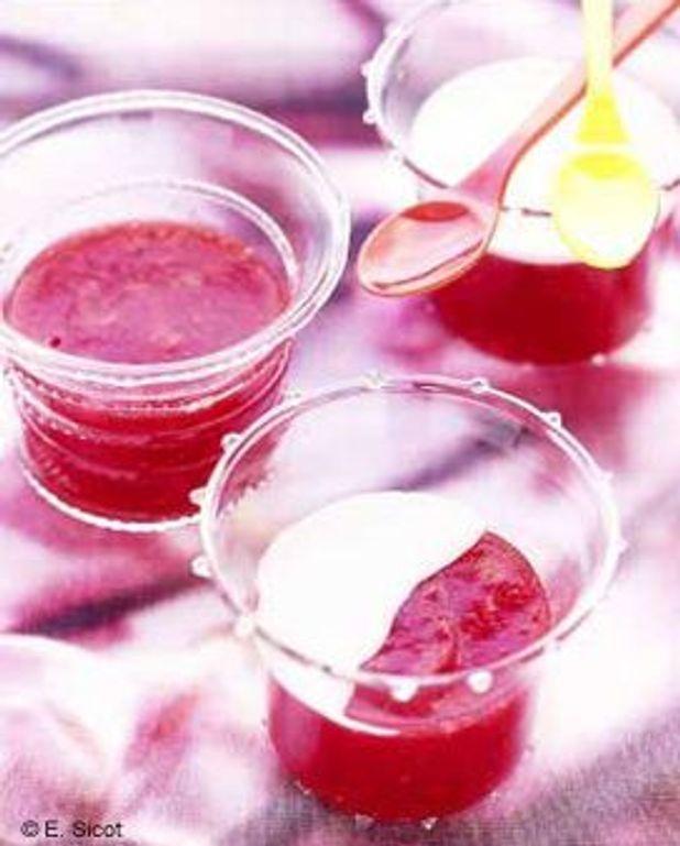 Gelée de fraise, coulis coco