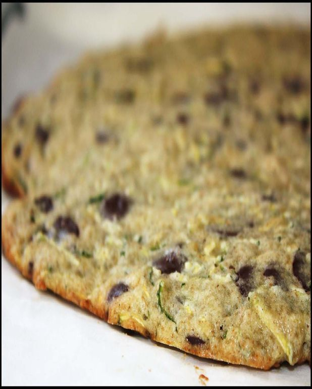 Giant cookie courgettes-chocolat