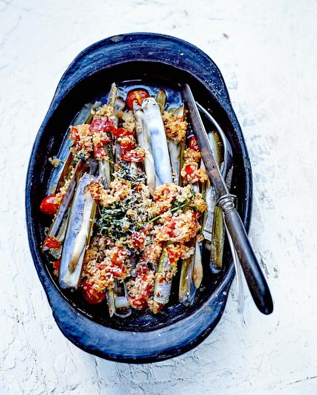 Gratin de couteaux au quinoa