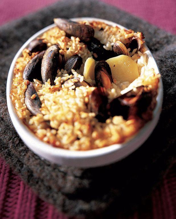 Gratin de moules au riz et pommes de terre
