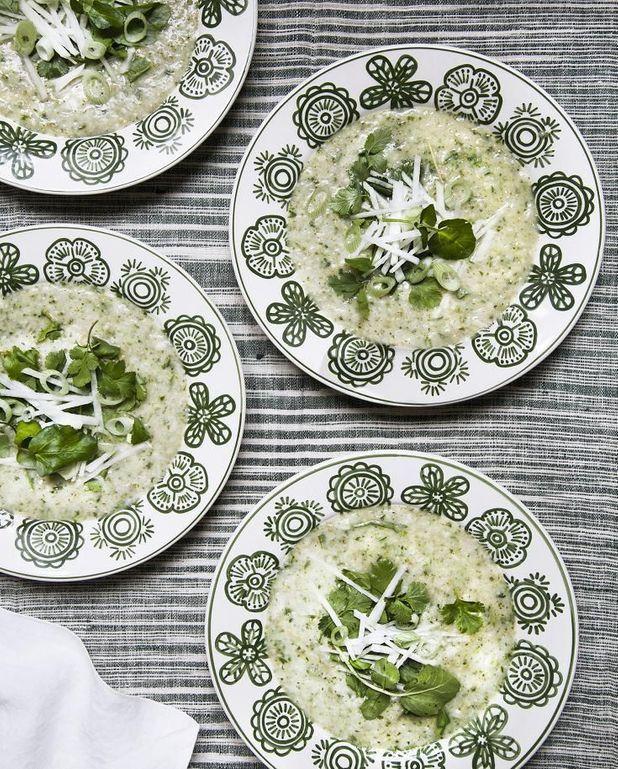 Green porridge au cresson et flocons d'avoine