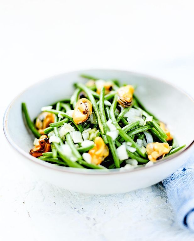 Haricots verts et vinaigrette de moules