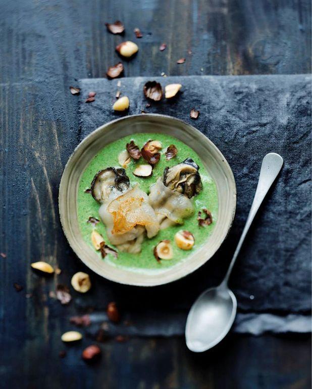 Huîtres grillées au lard de Colonnata, crème de cresson