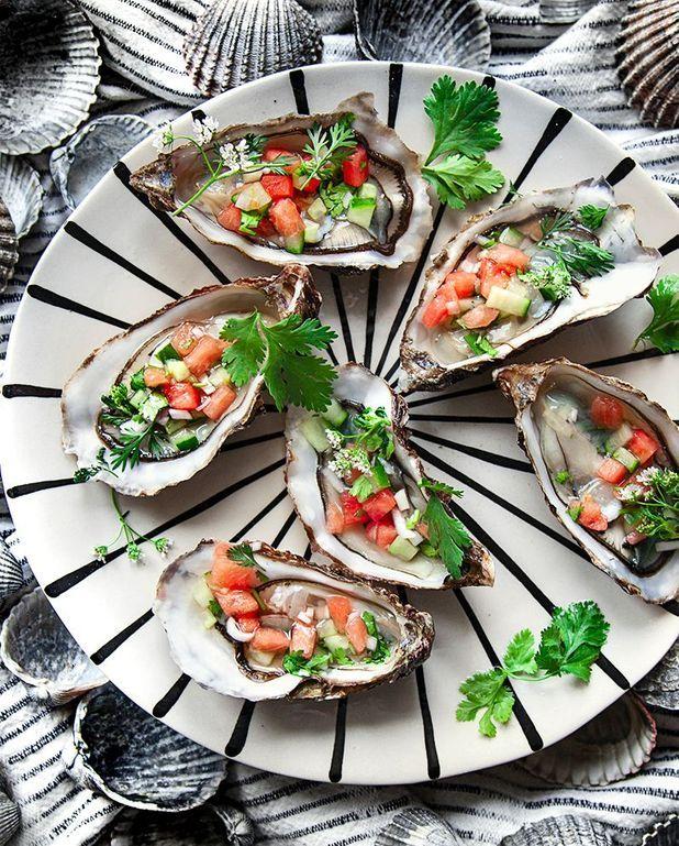 Huîtres et salsa à la pastèque