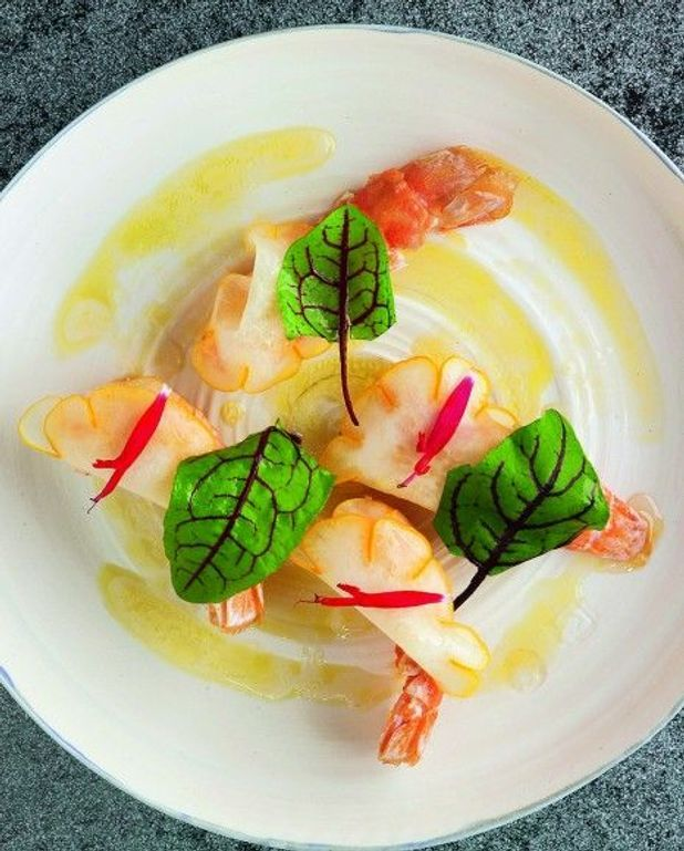 Langoustines rôties, cédrat mariné, gingembre de William Ledeuil