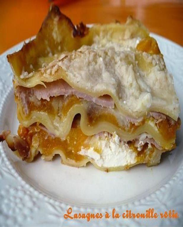 Lasagnes à la citrouille rôtie, au jambon et aux oignons