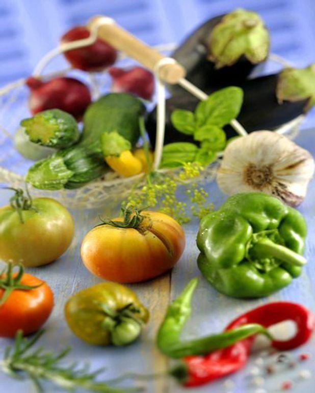 Légumes au gril en marinade verte