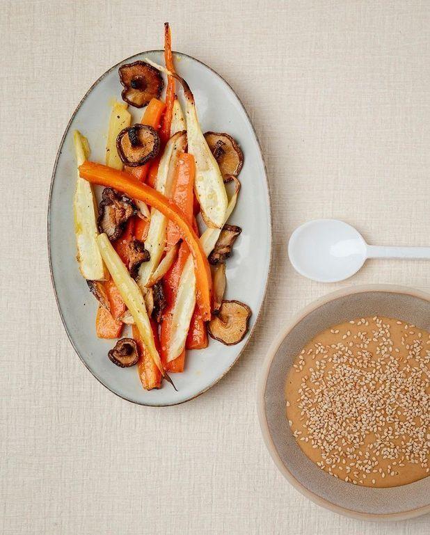 Légumes rôtis, sauce tahini-miso