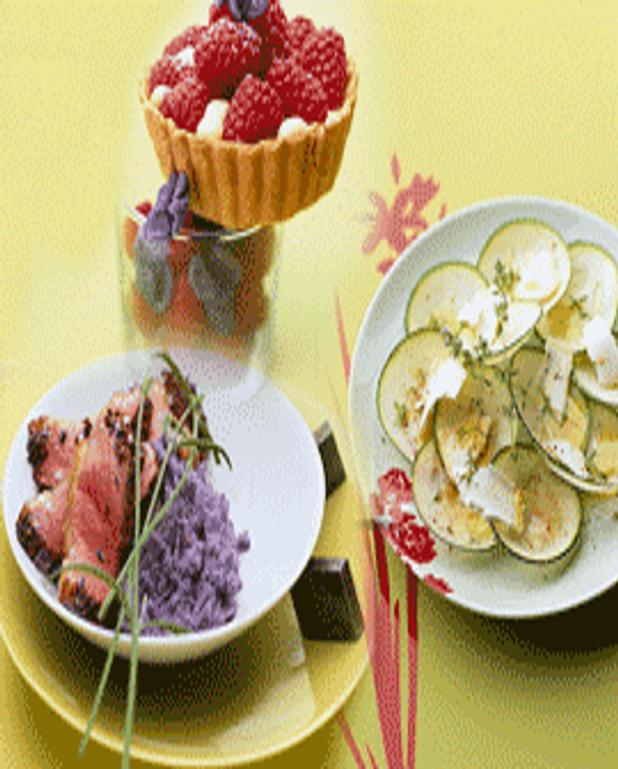 Magret miel et pignons accompagné de poires pochées