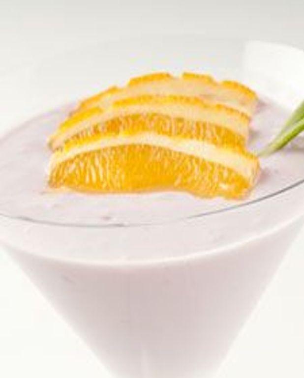 Milk-shake myrtille et orange