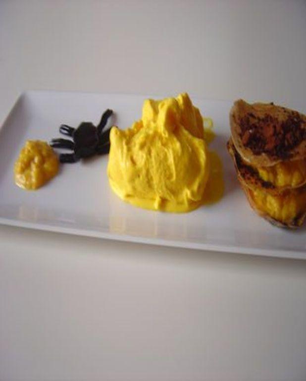 Millefeuille de potimarron aux amandes et crème glacée au potimarron
