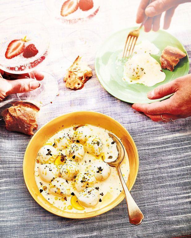 mozzarella marin e la cr me et au citron pour 4. Black Bedroom Furniture Sets. Home Design Ideas