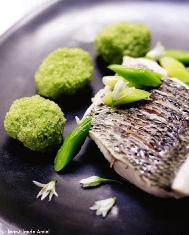 Mulet grillé, wasabi, encre de seiche