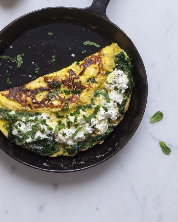 Omelette brocciu-épinards