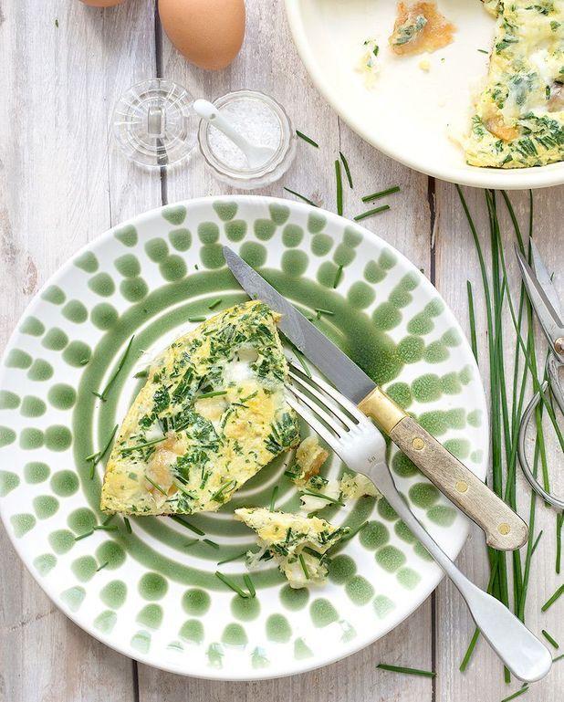 Omelette ciboulette et mozzarella
