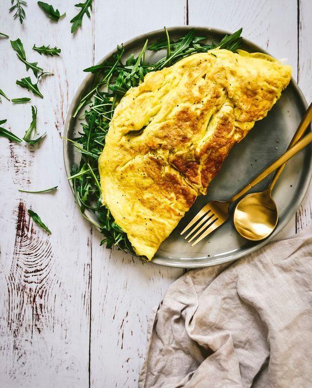 Omelette gorgonzola roquette
